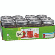 Jarden 60000 Ball 1/2 Pint Regular Mouth Canning Jars With Lids Pack Of 12