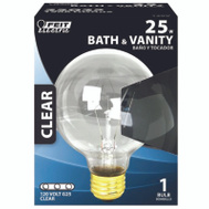 Feit Electric 25G25/RP 25 Watt Clear Globe Bulb G 25 Medium Brass Base