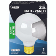 Feit Electric 25G25/W/RP 25 Watt Incandescent Globe G 25 White Medium Brass Base
