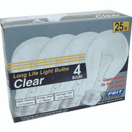 Feit Electric 25A/CL/4-130 25 Watt Standard Incandescent Bulb Clear Medium Brass Base 4 Pack