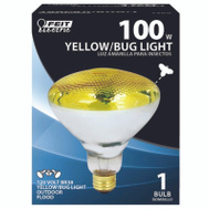 Feit Electric 100PAR/BUG/1 100 Watt Bug Parabolic Floodlight Par 38 Yellow Medium Brass Base