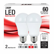 Feit Electric A800/830/LED/2 800 Lumens LED Multi Use A19 60 Watt Replacement Bulb 2 Pack