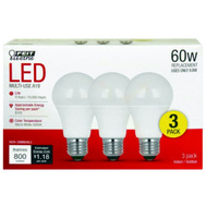 Feit Electric A800/830/10KLED/3 LED Multi-Use A19 60 Watt Replacement Bulb 9.5 Watt 3 Pack
