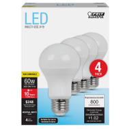 Feit Electric A800/835/10KLED/4 Bulb Led A19 60W Equiv Non-Dim (Box Of 4)