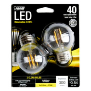Feit Electric BPGM40/827/LED/2 Dimmable LED G16.5 Bulb 4.5W Clear Soft White 2700K Replaces 40W 2 Pack