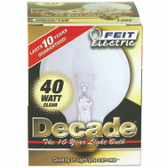 Feit Electric 40G25/15K Decade 40 Watt 3-1/8 Inch Incandescent Globe Clear Medium Brass Base