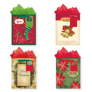Santas Forest 68309 Gift Bags W/Tis Paper Lg 3Pk