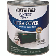 Rust-Oleum 1938502 Painters Touch Ultra Cover Latex Enamel Hunter Green Gloss Quart