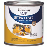 Rust-Oleum 1945730 Painters Touch Sun Yellow Gloss Ultra Cover Enamel 1/2 Pint Water Based