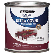 Rust-Oleum 1964730 Painters Touch Ultra Cover Latex Enamel Colonial Red Gloss 1/2 Pint