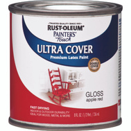 Rust-Oleum 1966730 Painters Touch Ultra Cover Latex Enamel Apple Red Gloss 1/2 Pint