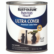 Rust-Oleum 1976502 Painters Touch Black Flat Ultra Cover Enamel Quart Water Based