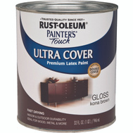 Rust-Oleum 1977502 Painters Touch Ultra Cover Latex Enamel Kona Brown Gloss Quart