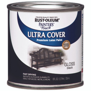 Rust-Oleum 1979730 Painters Touch Ultra Cover Latex Enamel Black Gloss 1/2 Pint