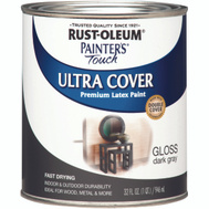 Rust-Oleum 1986502 Painters Touch Ultra Cover Latex Enamel Dark Gray Gloss Quart