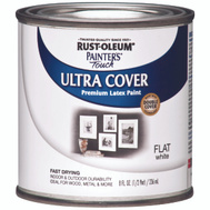Rust-Oleum 1990730 Painters Touch White Flat Ultra Cover Enamel 1/2 Pint Water Based