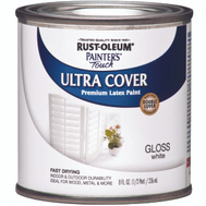 Rust-Oleum 1992730 Painters Touch Ultra Cover Latex Enamel White Gloss 1/2 Pint