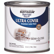 Rust-Oleum 1993730 Painters Touch Ultra Cover Latex Enamel White Semi Gloss 1/2 Pint