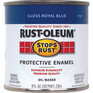 Rust-Oleum 7727730 Stops Rust Royal Blue Gloss Rust Protective Enamel 1/2 Pint Oil Based
