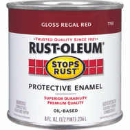 Rust-Oleum 7765730 Stops Rust Regal Red Gloss Rust Protective Enamel 1/2 Pint Oil