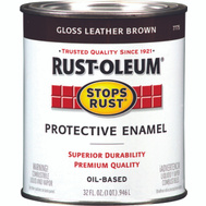 Rust-Oleum 7775502 Stops Rust Leather Brown Gloss Rust Protective Enamel Quart Oil