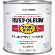 Rust-Oleum 7790730 Stops Rust Flat White Rust Protective Enamel 1/2 Pint Oil