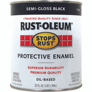 Rust-Oleum 7798502 Stops Rust Black Semi Gloss Rust Protective Enamel Quart Oil