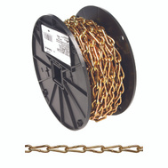 Campbell Chain 0723167 Twist Link Coil Chain #3 By 50 Foot #3 Brass Glo Steel