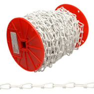 Campbell Chain PA0722027 Double Loop Chain 2/0 By 125 Foot White Polycoat Steel