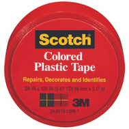 3M 190RED Scotch Red Colored Plastic Tape 3/4 By 125 Inch