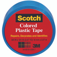 3M 190BLU Scotch Blue Colored Plastic Tape 3/4 By 125 Inch