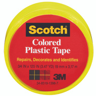 3M 190YLW Scotch Yellow Colored Plastic Tape 3/4 By 125 Inch