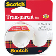 3M 144 Scotch Transparent Tape With Plastic Dispenser 1/2 By 500 Inch