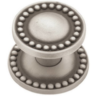 Brainerd PBF800Y-BSP-CP Beaded Cabinet Knob With Backplate Brushed Satin Pewter