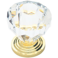 Brainerd P30122V-CL-C7 / 69266 Acrylic Faceted Cabinet Knob Clear With Brass Base
