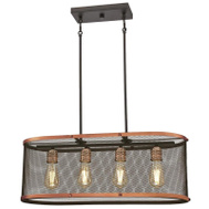 Westinghouse 63328 Chandelier Wshd Copper&Orb 4Lt