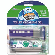 Scrubbing Bubbles 71381 Toilet Cleaner Blue Gel Discs Gel Dispenser With 6 Stamps