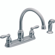 Moen CA87888 Caldwell 2 Handle High Arc Kitchen Faucet With Side Spray Chrome
