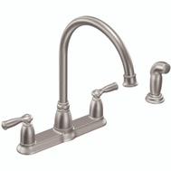 Moen CA87000SRS Banbury 2 Handle High Arc Kitchen Faucet With Spray Stainless