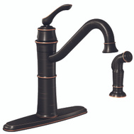 Moen 87999BRB Wetherly Single Handle High Arc Kitchen Faucet With Side Spray Mediterranean Bronze