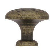 Amerock BP1581R2 Inspirations Botanical Leaf Imprint 1-5/16 Inch Cabinet Knob In A Weathered Brass Finish