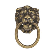 Amerock BP888AE Allison Value Collection Lions Head Style Pull Trim Ring 1-1/4 Inch Cabinet Knob In An Antique English Finish