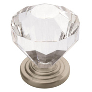 Amerock 14303G10 Traditional Classics Clear Acrylic 1-1/4 Inch Cabinet Knob Satin Nickel Base Plate