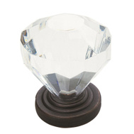 Amerock 14303ORB Traditional Classics Clear Acrylic 1-1/4 Inch Cabinet Knob Oil Rubbed Bronze Base