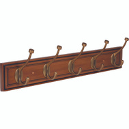Amerock 2000335 Beveled Hook Rack 27 Inches Honey Pine Rack 5 Gilded Bronze Hooks