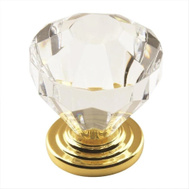 Amerock 14303CB Traditional Classics Clear Crystal 1-1/4 Inch Cabinet Knob Burnished Brass Backplate