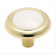 Amerock 244WPB Allison Value Hardware Classic Round 1-1/4 Inch Zinc Cabinet Knob In A Polished Brass Finish With A White Plastic Insert
