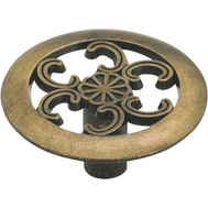 Amerock 890ABS Allison Value Hardware Round Zinc 1-1/2 Inch Cabinet Knob With Scroll Cutouts In An Antique Brass Finish