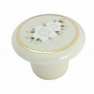 Amerock 69128 Allison Value Hardware Ceramic Round 1-1/2 Inch Cabinet Knob Floral Design On An Almond