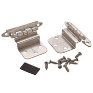 Amerock BPR3417G10 Cabinet Hinge Pair 3/8 Inch Inset In Satin Nickel